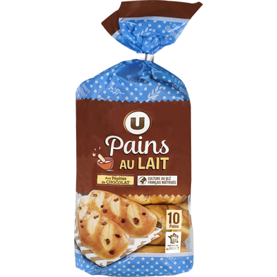 Pains au lait aux pépites de chocolat au lait U, 10x350g