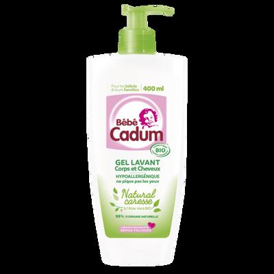 Gel lavant bébé natural caresse corps et cheveux aloé véra BIO CADUM,flacon de 400ml