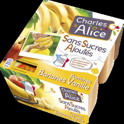 Purée fruits pomme banane vanille sans sucre ajouté CHARLES & ALICE, 4x100g