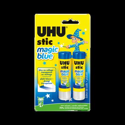 COLLE UHU, bleue, transparente au séchage, 2 bâtons de 8,2g