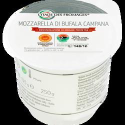 Mozzarella DOP di bufala, lait pasteurisé, 24%Mat.gr., L'ITALIE DES FROMAGES, 125g