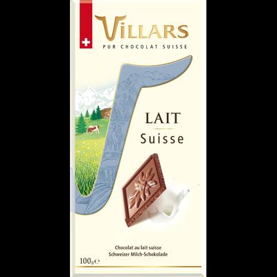 Chocolat au lait Suisse Dégustation VILLARS, tablette de 100g