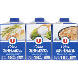 Crème légère semi-épaisse 18% de matière grasse UHT U, 3 briques de 20cl