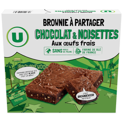 Brownies au chocolat noisettes familial U, 285g