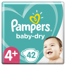 Couches baby dry langes géant taille 4+ PAMPERS x42