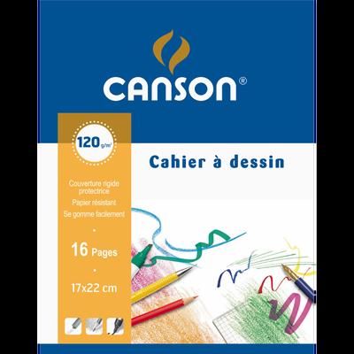 Cahier à dessin CANSON, grain 125g/m2, 17x22cm, 16 pages
