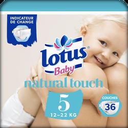 Couches LOTUS BABY, taille 5, 12 à 22 kg, 36 unités