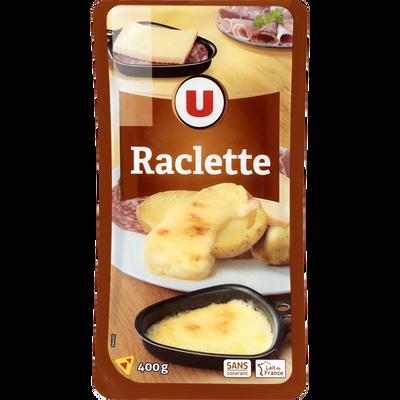 Raclette tranchée au lait pasteurisé U, 28%MG, 400g