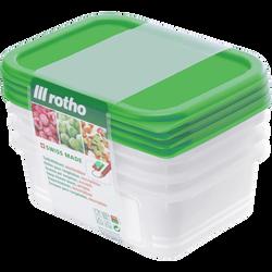 Boîte Domino Freeze ROTHO, 0,50l, avec couvercle vert, 4 unités