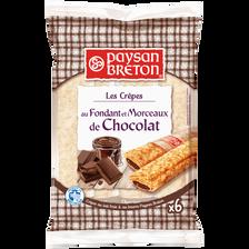 Paysan Breton Crêpes Fourrées Au Fondant Et Morceaux De Chocolat , 6 Unités 180g