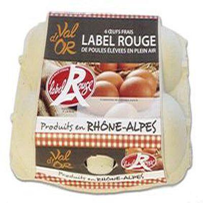 6 oeufs frais Label Rouge de poules plein air