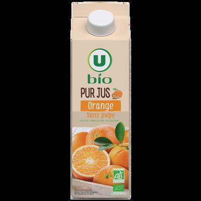 Pur jus d'orange sans pulpe U BIO, brique de  1l