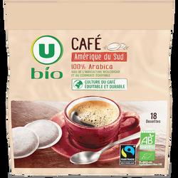 Café dosettes souples U BIO Amérique du Sud Max Havelaar, x18