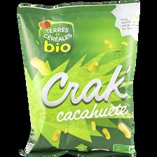 Maïs soufflé goût cacahuète, crak'cacahuetes bio, TERRE ET CEREALES, sachet de 50g