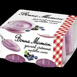 Yaourt crémeux myrtille et cassis BONNE MAMAN, 4x125g