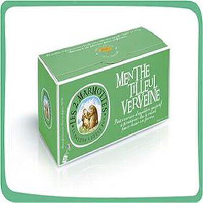 Menthe Tilleul Verveine, infusion 30 sachets, les 2 marmottes