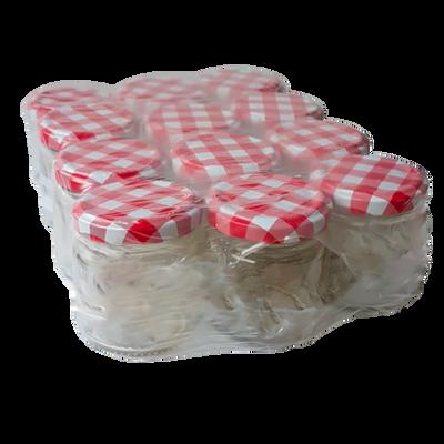 Pot à confiture 106ml+couvercle décor vichy rouge x12