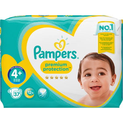 Couches premium protection PAMPERS, taille 4+, 9 à 18kg, x37