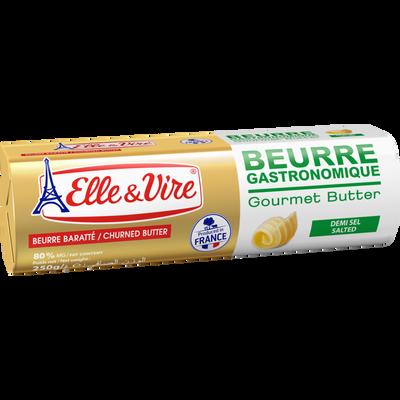 Beurre demi-sel gastronomique ELLE & VIRE, rouleau 250g