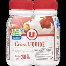 Crème UHT entière liquide bleu blanc coeur, U, 30% de MG, 2 bouteillesde 25cl