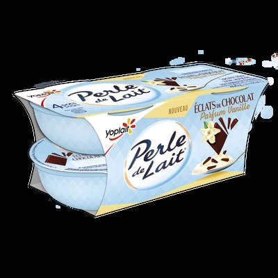 Spécialité laitière sucrée aromatisée à la vanille aux copeaux de chocolat PERLE DE LAIT, 4x100g