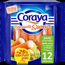 Coraya Bâtonnets De Surimi Fermes Et Tendres , X12 + 25% Offert, 225g