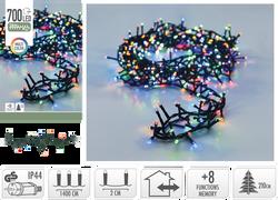 Guirlande grappe 700 microleds multicouleurs-partie lumineuse 14m-branches flexibles 3cm-led 5mm-fil conduc.3m-8 fonct.a/mémoire-adapt.ip44-fil vrt-usage intérieur-extérieur