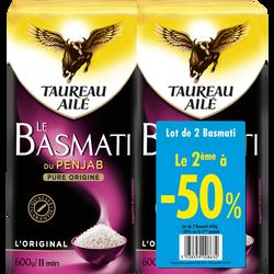 Riz basmati long grain naturellement parfumé TAUREAU AILE, 2x600g