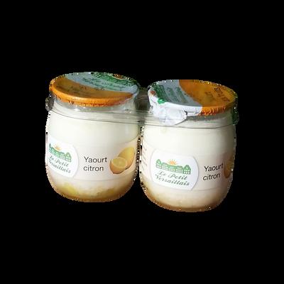 Yaourt au lait entier bi-couche citron LE PETIT VERSAILLAIS, pot en verre 2x125g