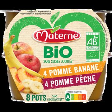 Materne Dessert Fruits Sans Sucre Ajouté Pêche/banane Bio Materne, 8x100g