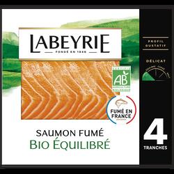 Saumon fumé Atlantique bio LABEYRIE, 4 tranches soit 120g