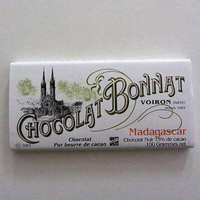 """Chocolat noir au beurre de cacao """"Madagascar"""" BONNAT,100gr"""