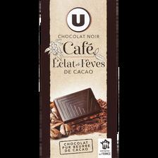 Tablette de chocolat noir café dégustation U, 100g