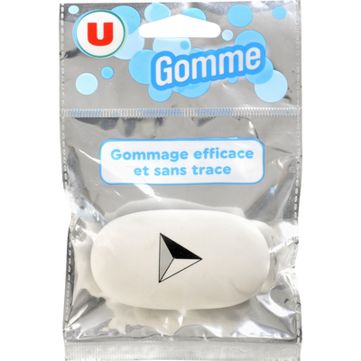 Gomme ovale U, blanche