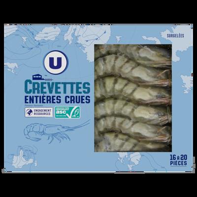 Crevette entière crue vannamei ASC elevées au vietnam U, 400g