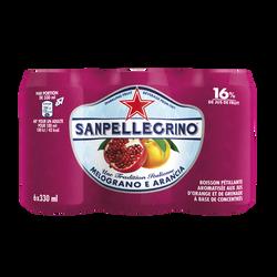 Boisson gazeuse aromatisée aux jus de grenade & d'orange SAN PELLEGRINO 6x33cl
