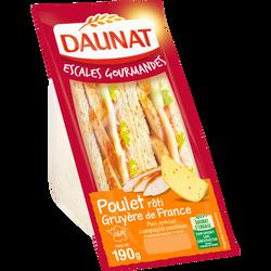 """Sandwich """"escale gourmande"""" au pain de mie spécial campagne garni de poulet rôti traité en salaison et de gruyère, IGP DAUNAT, 190g"""