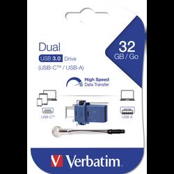 CLE USB TYPE C VERBATIM DUAL 32GO-USB 3.0-TAILLE MINI- RETRACTABLE