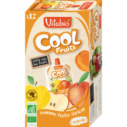 Cool fruits pomme pêche abricot VITABIO, 12x90g