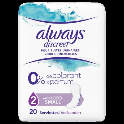 Serviettes discreet small 0% colorant et parfum ALWAYS, x20