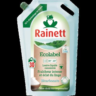 Lessive liquide concentrée ecolabel fraicheur intense bicarbonate RAINETT 30 lavages, 1,98 litre