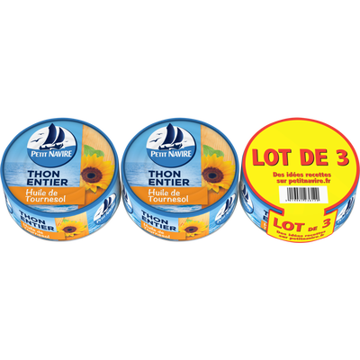Thon entier huile de tournesol PETIT NAVIRE, 3 boîtes de 160g