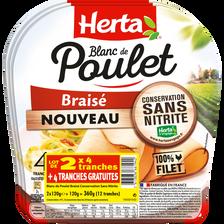 Herta Blanc Poulet Braisé Conservateur Sans Nitrite , 4 Tranches X2 + 1offert Soit 360g