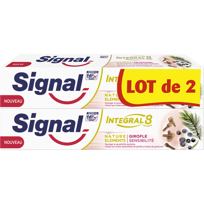 Dentifrice intégral 8 girofle sensibilité SIGNAL, 2 tubes de 75ml