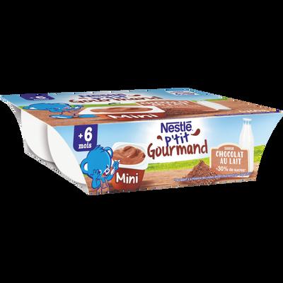 Dessert chocolat au lait P'tit Gourmand NESTLE, dès 6 mois, 6x60g