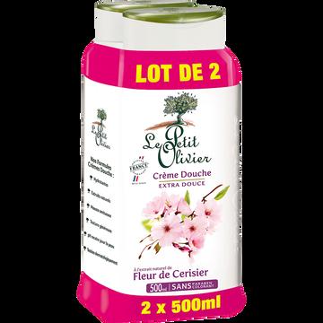 Le Petit Olivier Crème De Douche Extra Douce À L'extrait Naturel De Fleur De Cerisier Le Petit Olivier, 2 Flacons De 500ml