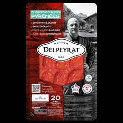 Chorizo doux extra des pyrénées DELPEYRAT, 20 tranches,70g