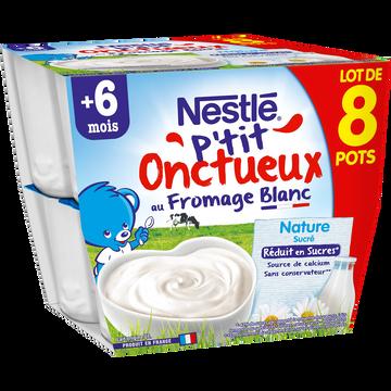 Nestlé P'tit Onctueux Au Fromage Blanc Nature Nestlé Dès 8 Mois, 8x100g