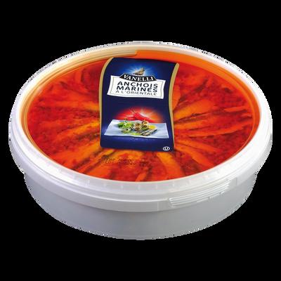 Filet d'anchois marinés à l'orientale, transformé au Maroc,seau de 1kg