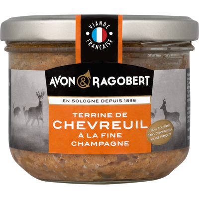 Terrine de chevreuil à la fine champagne AVON & RAGOBERT, verrine de 180g